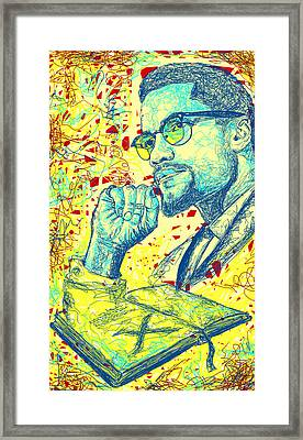 Malcolm X Drawing In Lines Framed Print