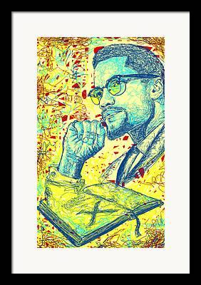 Malcolm X Sketch Framed Prints