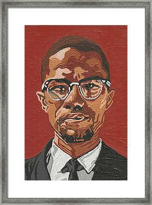 Framed Print featuring the painting Malcolm X by Rachel Natalie Rawlins