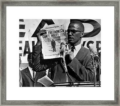 Malcolm X Speaks Framed Print by Underwood Archives