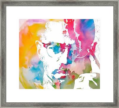 Malcolm X Watercolor Framed Print by Dan Sproul