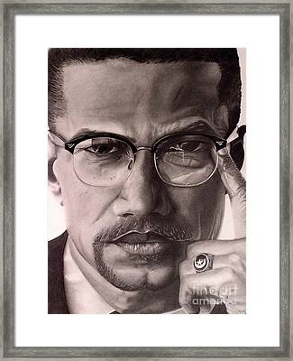 Malcolm X Framed Print by Wil Golden