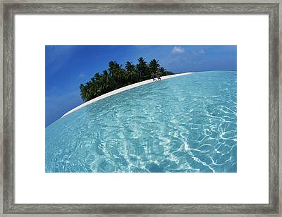 Maldives, Couple Walking On Beach Framed Print