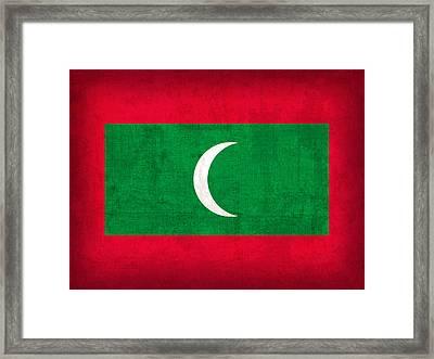 Maldives Flag Vintage Distressed Finish Framed Print