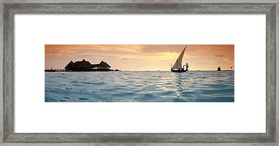 Maldivian Dhoni Sunset Framed Print by Sean Davey