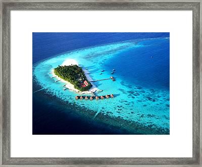 Maldivian Resort. Aerial Journey Over Maldives  Framed Print by Jenny Rainbow