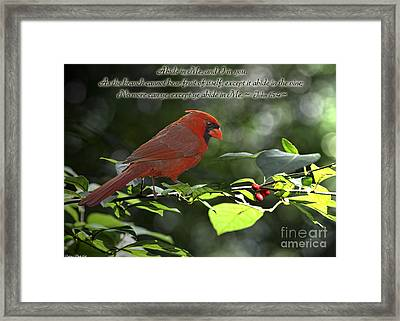 Male Cardinal On Dogwood Branch With Verse Framed Print