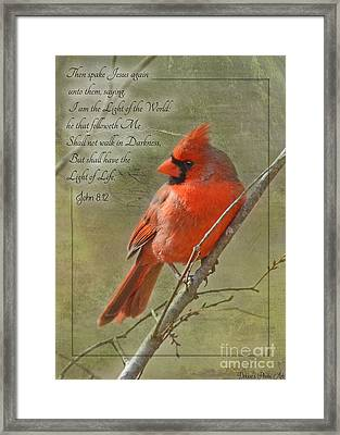 Male Cardinal On Twigs With Bible Verse Framed Print