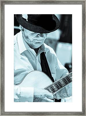 Male In Alpine Hat Playing Guitar Framed Print