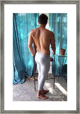 Male In Gray Lycra Framed Print by Gary F