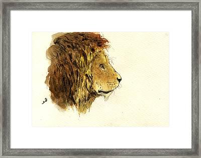 Male Lion Head Framed Print by Juan  Bosco