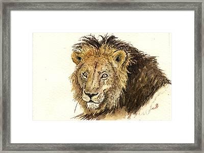 Male Lion Framed Print by Juan  Bosco