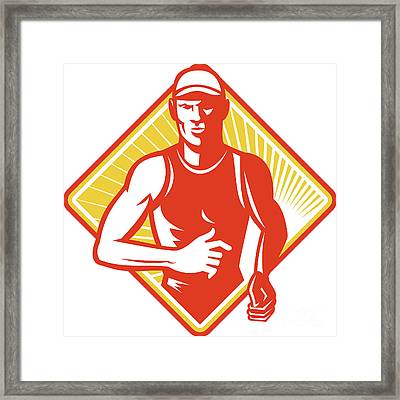 Male Marathon Runner Running Retro Woodcut Framed Print by Aloysius Patrimonio