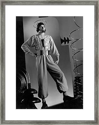 Male Model Wearing Futuristic Gray Jumpsuit Framed Print