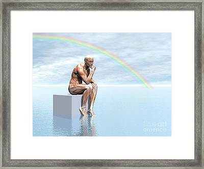 Male Musculature Sitting On A Cube Framed Print