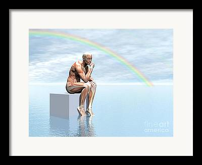 Hand On Chin Digital Art Framed Prints