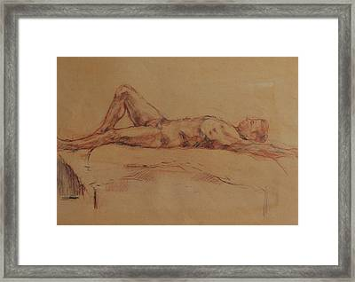 Male Nude 3 Framed Print by Becky Kim