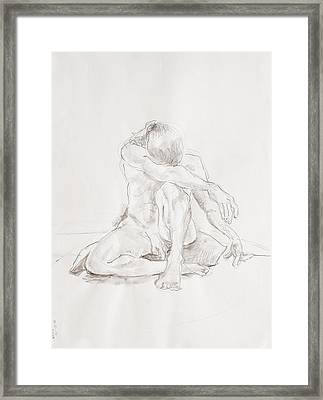 Male Nude On Pillow Framed Print by Andy Gordon