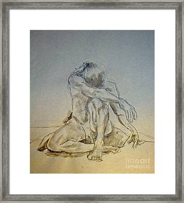 Male Nude On Pillow With Tint Framed Print