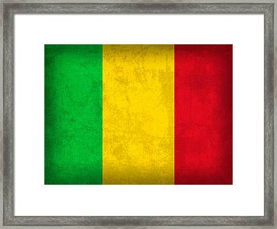 Mali Flag Vintage Distressed Finish Framed Print
