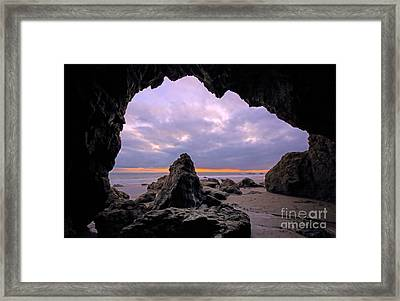 Malibu Beach Cave Framed Print by Charline Xia