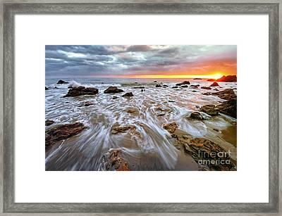 Malibu Beach Sunset Framed Print by Charline Xia