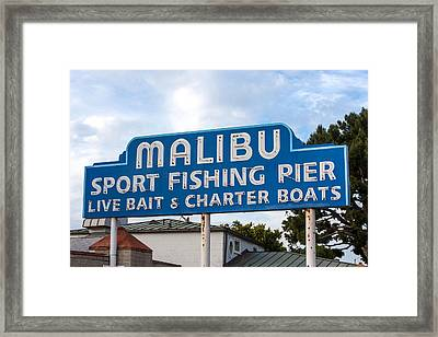 Malibu Pier Sign Framed Print by Art Block Collections