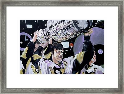 Malkin Hoisting The Cup. Framed Print by Philip Kram