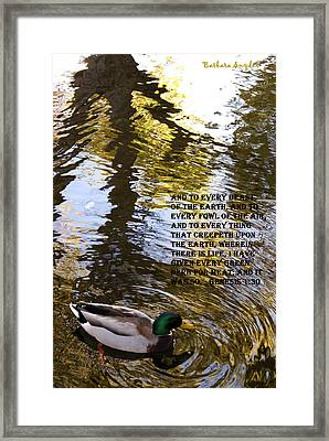 Mallard Duck With Scriptures Framed Print