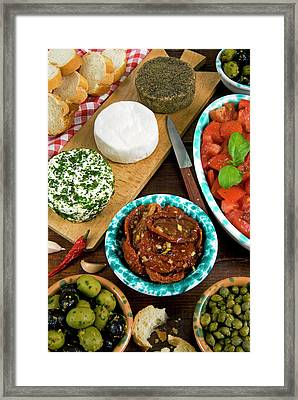 Maltese Appetizer Gbejniet (round Framed Print by Nico Tondini