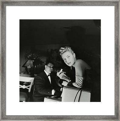 Malu Gatica With A Microphone Framed Print by Horst P. Horst