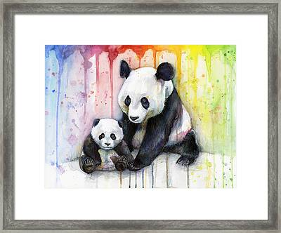 Panda Watercolor Mom And Baby Framed Print by Olga Shvartsur
