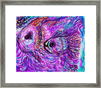 Mama Fish And Litlle Girl On An Outing Framed Print by Anne-Elizabeth Whiteway