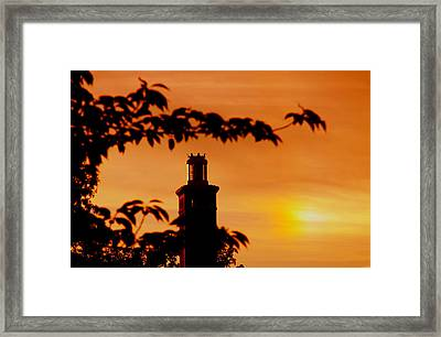 Framed Print featuring the photograph Mamaroneck Lighthouse Nearing Sunset by Aurelio Zucco