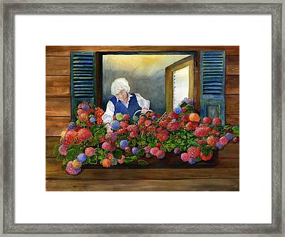 Mama's Window Garden Framed Print