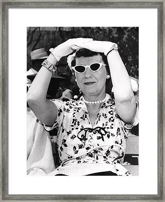 Mamie Eisenhower At West Point Framed Print by Underwood Archives