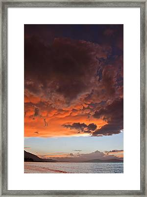 Mammatus Clouds At Sunset Ahead Of Violent Thunderstorm Framed Print by Ken Biggs