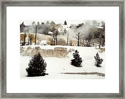 Mammoth Terraces In Winter Blanket Framed Print