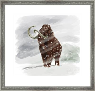 Mammuthus Primigenius Walking Framed Print by Alice Turner