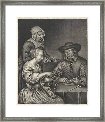 Man And A Woman At The Table, Anonymous, Jan Van Somer Framed Print by Anonymous And Jan Van Somer