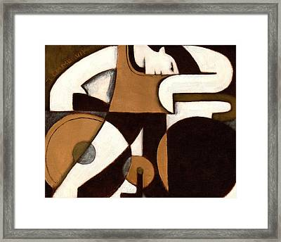 Man And Bike Art Print Framed Print by Tommervik
