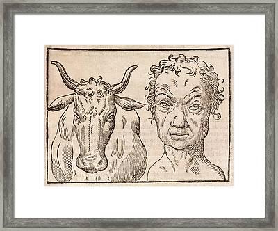 Man And Bull's Head Framed Print