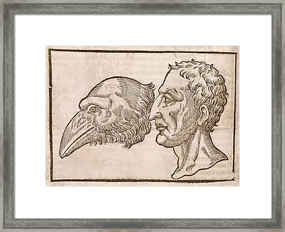 Man And Crow's Head Framed Print