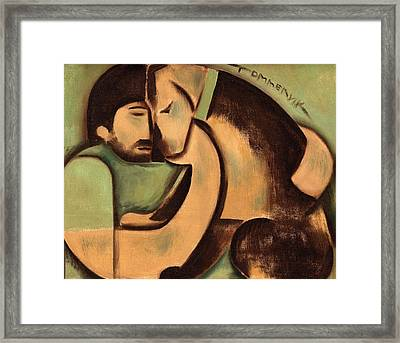 Man And Dog Art Print Framed Print by Tommervik