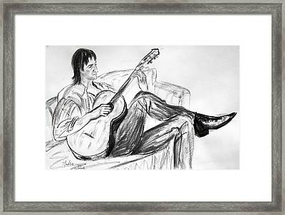 Man And Guitar Framed Print
