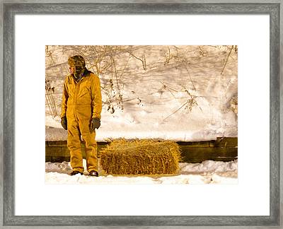 Man And Hay Framed Print