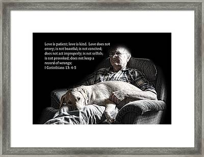 Man And His Dog At Rest 1cor.13v4-5 Framed Print by Linda Phelps