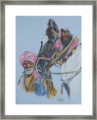 Framed Print featuring the pastel Man And His Horse by Janina  Suuronen
