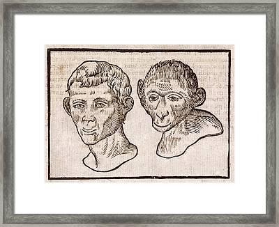 Man And Monkey's Head Framed Print