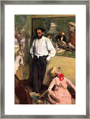 Man And Puppet Framed Print by Edgar Degas